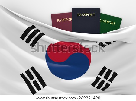 Travel and tourism in South Korea, with assorted passports - stock photo