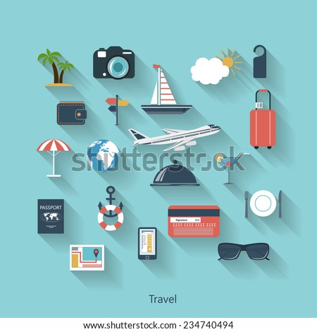Travel and tourism modern concept in flat design with long shadows and trendy colors for web, mobile applications, layouts, brochure covers etc. Raster  illustration - stock photo