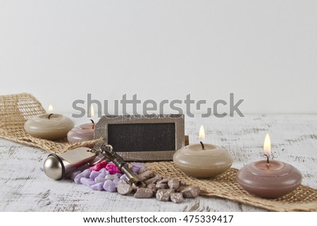 Travel and vacation concept with empty sign and candles