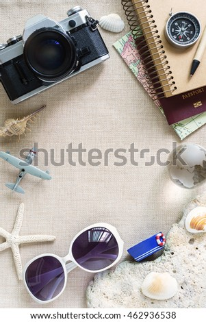 Travel and vacation outfits and accessories, Summer concept with copy space
