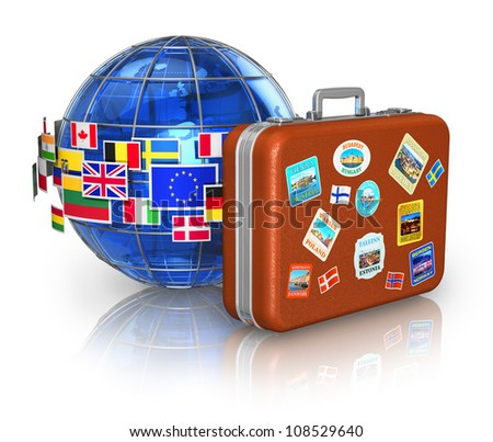 Travel around the world and tourism concept: leather travel case and blue Earth globe with group of colorful flags isolated on white background with reflection effect - stock photo