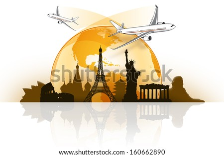 Travel around the world by plane - stock photo