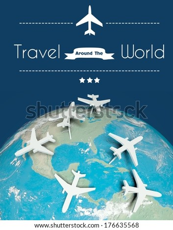 Travel around the world concept: airplanes on globe - stock photo