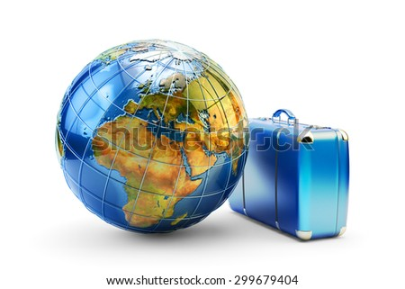 Travel around the world, journey, voyage and vacation concept, blue vintage suitcase and Earth globe isolated on white background. Source of Globe texture: http://visibleearth.nasa.gov - stock photo