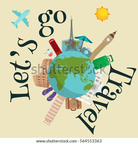 Travel Around The World Poster Tourism And Vacation Earth Journey Global Illustration