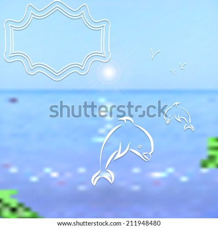 Travel background. Bright blurred sea and sky with painted seagulls and dolphins.  - stock photo
