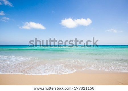 travel background with a blue sky, turquoise sea and a beautiful beach, Fuerteventura, Canary Islands, Spain, Europe - stock photo