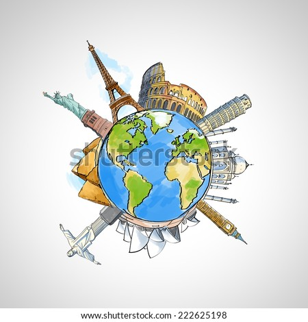 travel background with earth and landmarks - stock photo