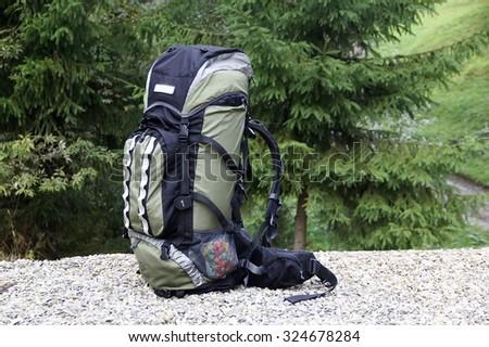 travel backpack - stock photo