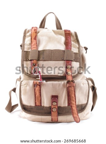 travel backpack isolated - stock photo