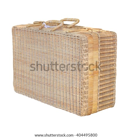 Travel bag hand made woven rattan  vintage isolated on white background. this has clipping path. - stock photo