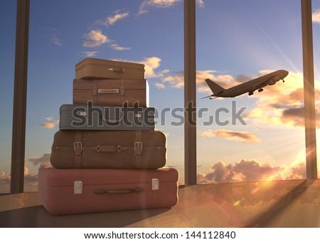 travel bags and airplane in sky - stock photo