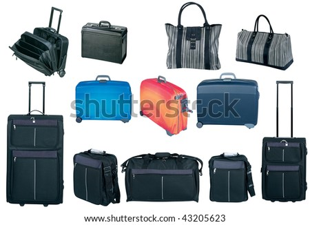Travel bags and suitcases collection, isolated on white - stock photo