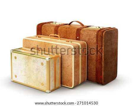 travel bags on white background - stock photo