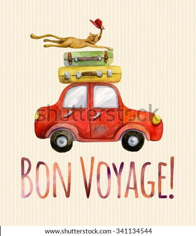 Travel banner. Watercolor funny cartoon colorful poster. Illustration with red car, baggage and happy bye-bye cat with red hat. Bon Voyage lettering. - stock photo