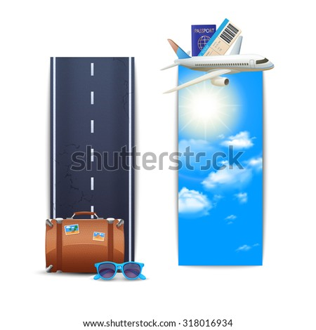 Travel banners vertical set with realistic suitcase and airplane isolated  illustration - stock photo