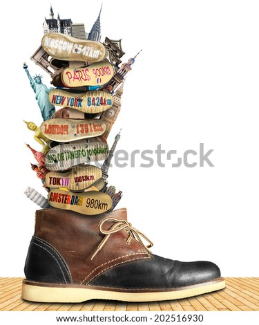 Travel, boot to the information stand, tourist collage - stock photo