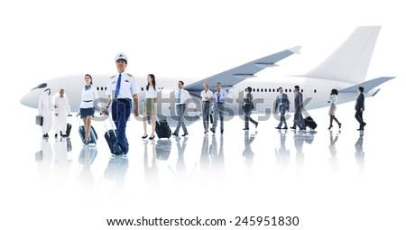 Travel Business People Cabin Crew Transportation Airplane Concept - stock photo