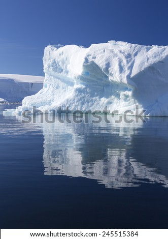 Travel by the research ship. Studying of climatic and weather changes in Antarctica. Snow and ices of the Antarctic islands. The purest ice and water of the Antarctic fjords. - stock photo
