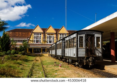 Travel by train at Da Lat train station.