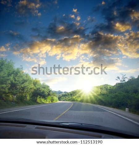 Travel car road sun - stock photo