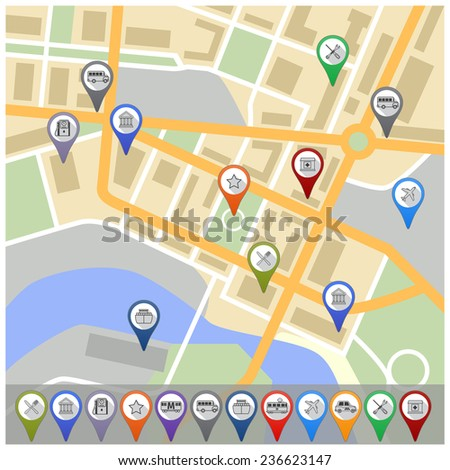 Travel city road street map with navigation gps pin icons  illustration