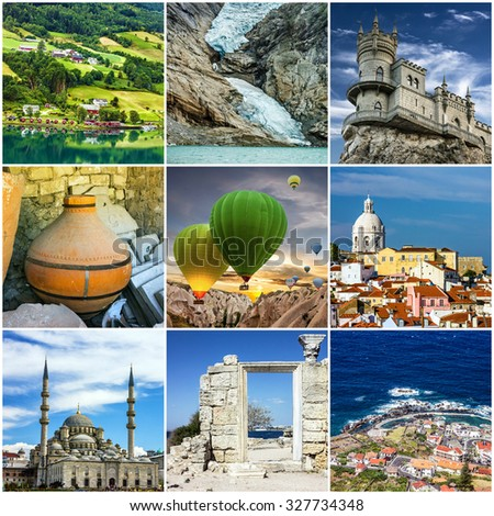 Travel collage. European landmarks. Norway, Turkey, Crimea, Greece, Madeira, Portugal   - stock photo