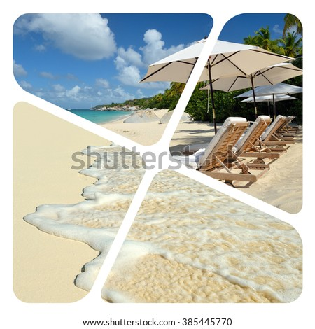 Travel collage. Luxury spa resort. Wave of the sea on the sand beach - stock photo