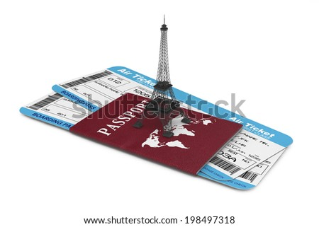 Travel Concept. Airline boarding pass tickets with Eiffel Tower and Passport on a white background - stock photo