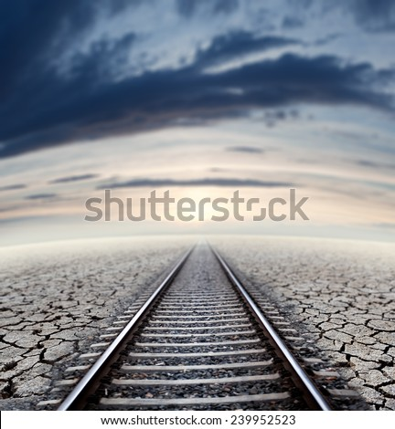 Travel concept and railway.Sunset dream scape