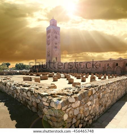 travel concept around the world.Koutoubia mosque, Marrakech, Morocco. - stock photo