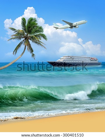 Travel concept. Beach, palm, airplane and ship  - stock photo