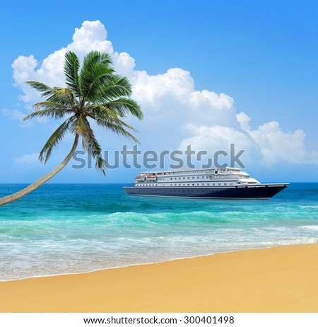 Travel concept. Beach, palm and ship