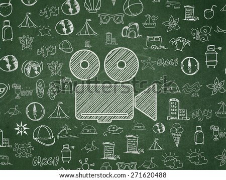 Travel concept: Chalk White Camera icon on School Board background with  Hand Drawn Vacation Icons, 3d render - stock photo