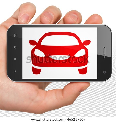 Travel concept: Hand Holding Smartphone with red Car icon on display, 3D rendering