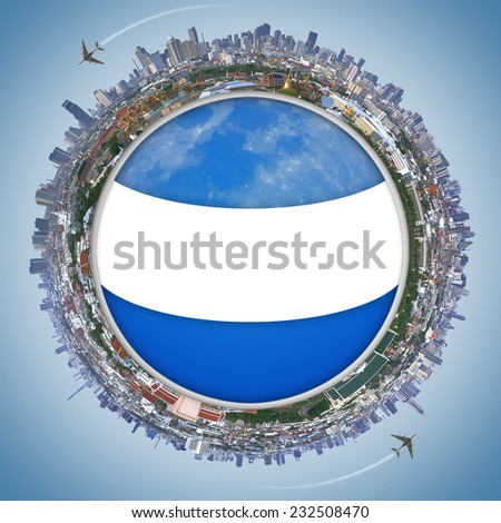 Travel concept, Landscape Bangkok city  and the Palace of Thailand with space for text. - stock photo