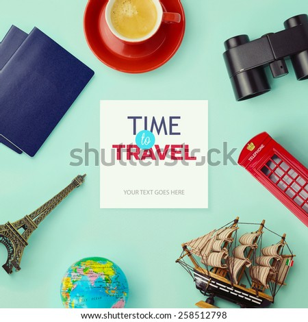 Travel concept mock up design. Objects related to travel and tourism around blank paper. View from above - stock photo