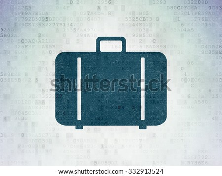 Travel concept: Painted blue Bag icon on Digital Paper background - stock photo