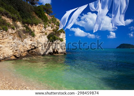 Travel concept - paradise island, sea, sky, summer.Agios Sostis in Zakynthos island,Greece. - stock photo