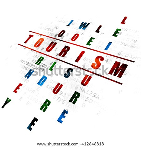 Travel concept: Pixelated red word Tourism in solving Crossword Puzzle on Digital background - stock photo