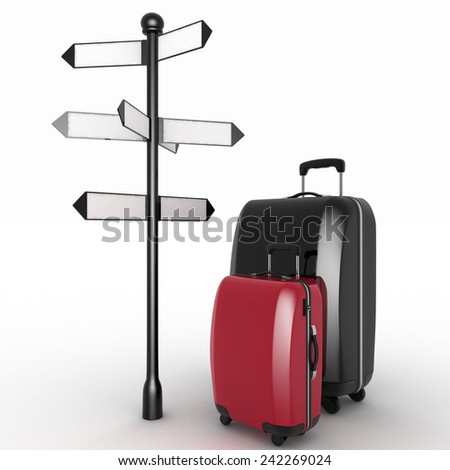 Travel concept. Signpost and suitcases on a white background. 3d render illustration - stock photo