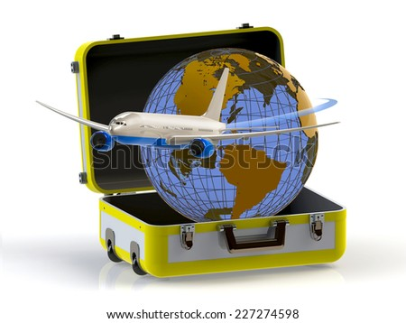 Travel concept. Suitcase, globe and aircraft isolated on white background. 3D - stock photo