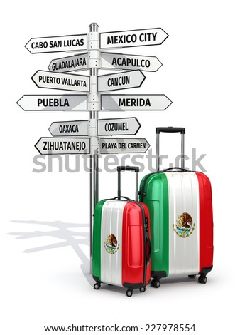 Travel concept. Suitcases and signpost what to visit in Mexico. 3d - stock photo