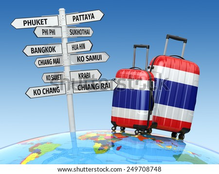Travel concept. Suitcases and signpost what to visit in Thailand. 3d - stock photo