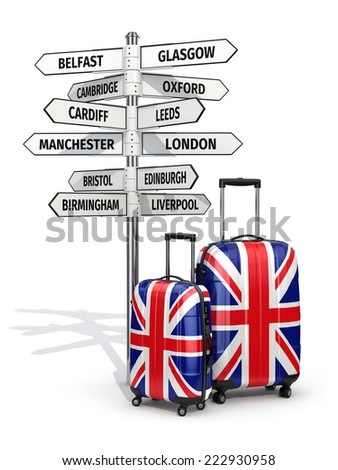 Travel concept. Suitcases and signpost what to visit in UK. 3d - stock photo