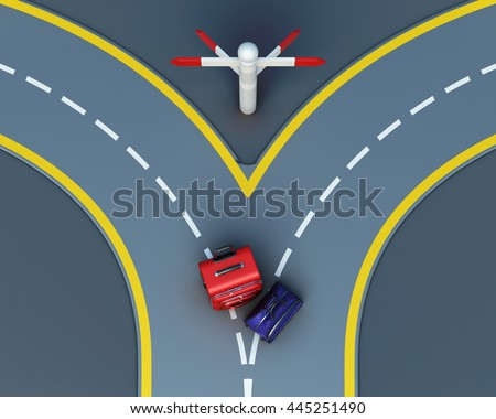 Travel concept suitcases on road forks. Choice of the way. Top view. 3d rendering - stock photo