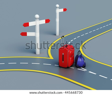 Travel concept suitcases on the road. 3d rendering - stock photo