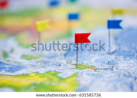 Travel concept flag pushpins world map stock photo 631585736 travel concept with flag pushpins and world map gumiabroncs Images