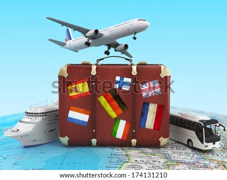 travel concept with plane, suitcase and bus - stock photo