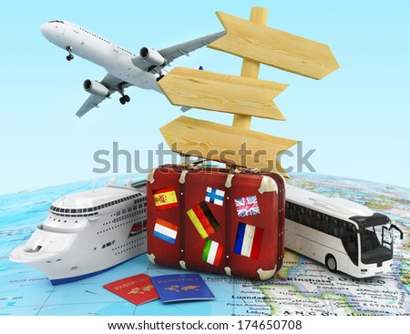 travel concept with plane, suitcase, bus  and ship, wood sing board and passportes - stock photo